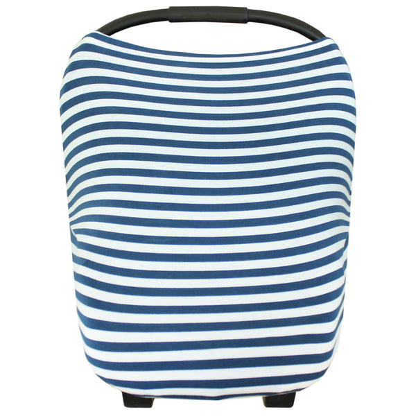 Multi Use 5 in 1 Baby Cover | Blue/White Stripe -Accessories -Poshinate Kiddos Baby & Kids Boutique -main carseat