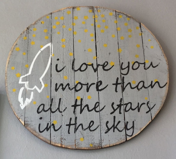 Pallet Wall Art | I Love You More - Room Decor - Poshinate Kiddos Baby & Kids Store - hanging pallet