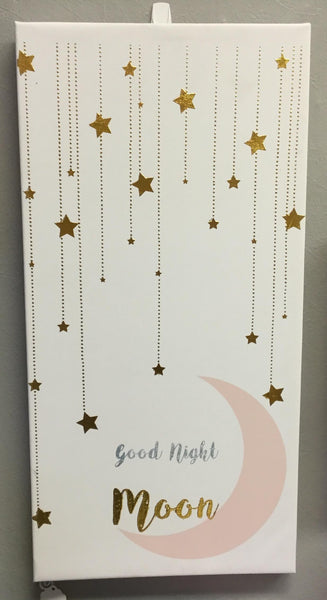 Canvas Wall Art | Good Night Moon - Room Decor - Poshinate Kiddos Baby & Kids Boutique  - Pink Moon