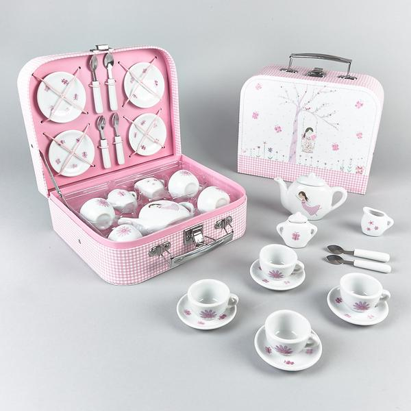 Kids Tea Party Set | Fairy Blossom | Porcelain 16 pc - Puzzles, Games & Toys - Poshinate Kiddos Baby & Kids Boutique | Porcelain Fairy set full contents