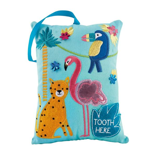 Kids Tooth Fairy Pillow | Jungle - Tooth Fairy - Poshinate Kiddos Baby & Kids Boutique | Jungle pattern cheetah flamingo macaw