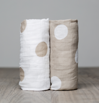 Cotton Muslin Swaddle Set | 2 pc | Beige Dots