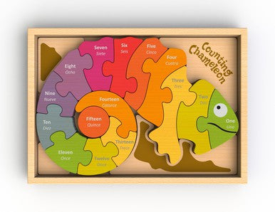 Wooden Counting Chameleon Puzzle - Puzzles, Games & Toys -  - Poshinate Kiddos