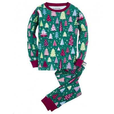 Kiddos Jammie Set | Pink/Green Forest Trees - Kids Jammie Sets - 2 / Pink/Green Trees - Poshinate Kiddos