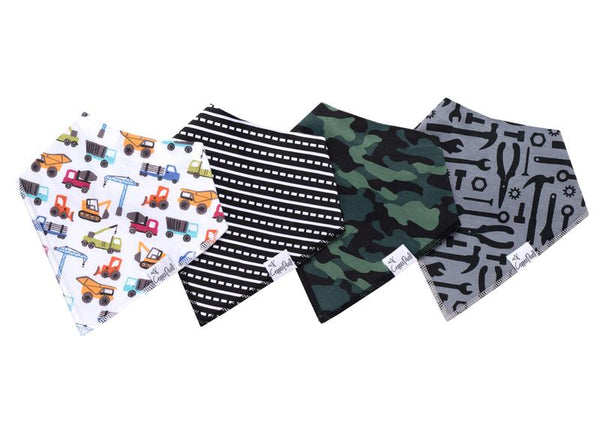 Baby Bibs | Bandana | Construction / Camo / Tools 4-Pack