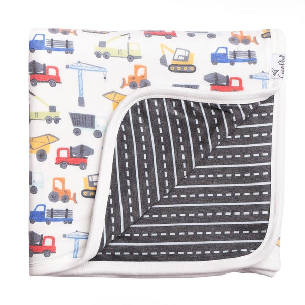Kids Blanket | 3-Layer Knit | Construction - Blankets - Poshinate Kiddos Baby & Kids Store - Blanket both sides