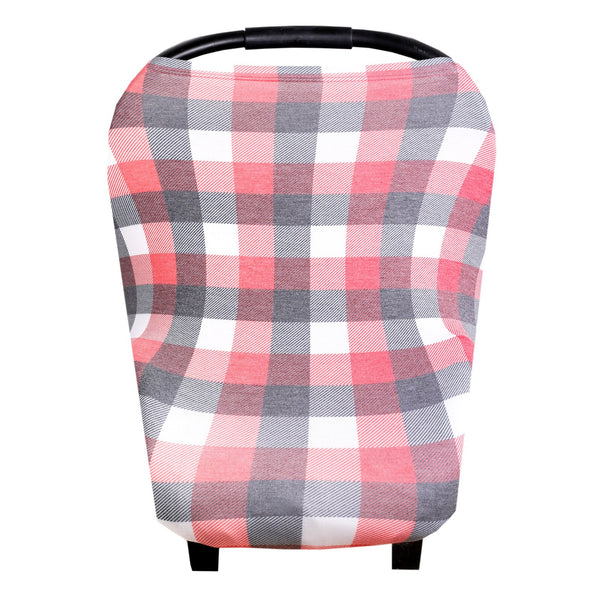Multi Use 5 in 1 Baby Cover | Red/Black/White Buffalo Plaid - Accessories - Poshinate Kiddos Baby & Kids Store - on car seat