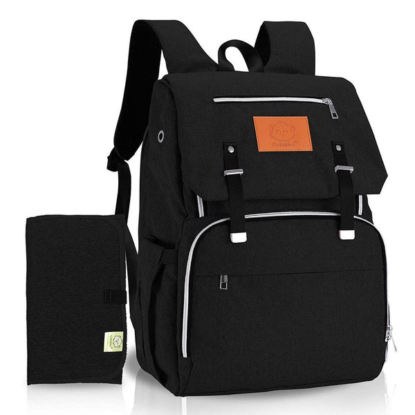 Diaper Bag Backpack | Black - Diaper Bags - Poshinate Kiddos Baby & Kids Boutique - front of bag