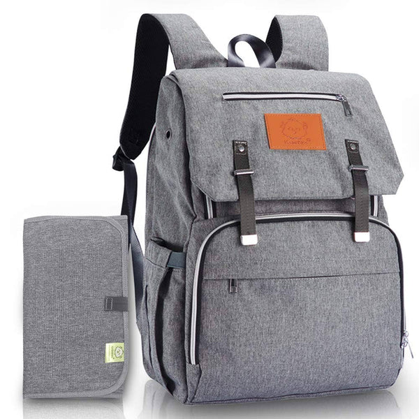 Diaper Bag Backpack | Grey - Diaper Bags - Poshinate Kiddos Baby & Kids Boutique - front of bag