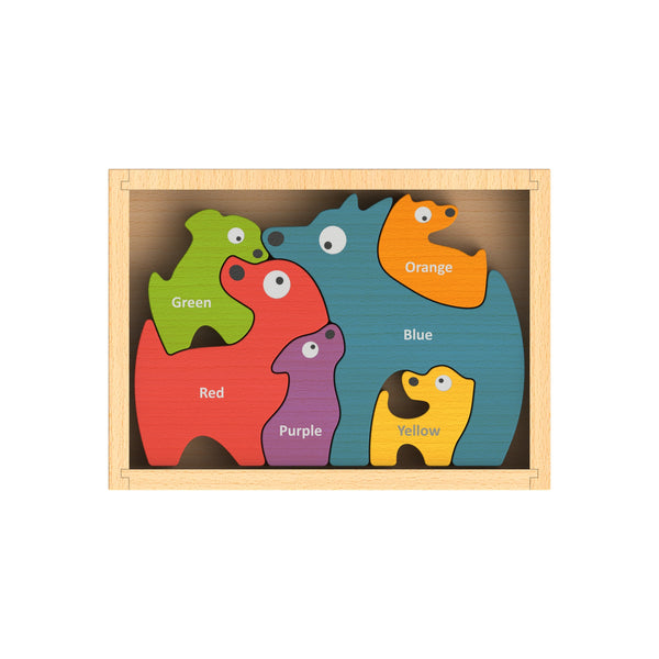 Kids Puzzle | Wooden Dog Family | Bilingual