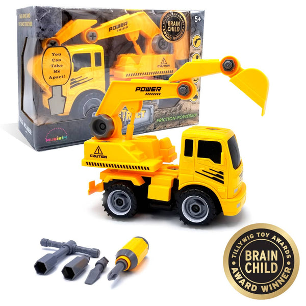 Kids Excavator Toy | 36 Pc Build Your Own Excavator - Kids Toys - Poshinate Kiddos Baby & Kids Toy Store - Main