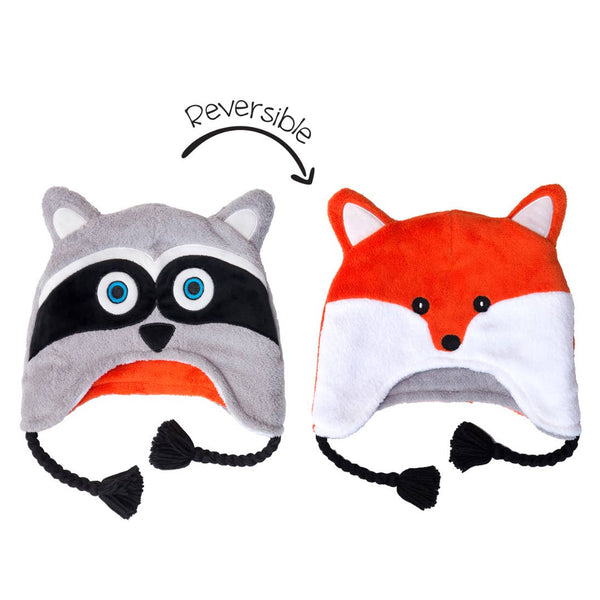 Kids Winter Hat | 2-in-1 Reversible | Fox & Raccoon - Kids Hats - Poshinate Kiddos Baby & Kids Store - shows both