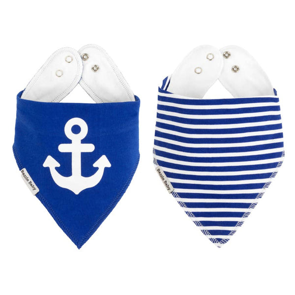 Baby Bibs | Anchor & Stripe 2-pack - Baby Bibs - Poshinate Kiddos Baby & Kids Store - anchor on left