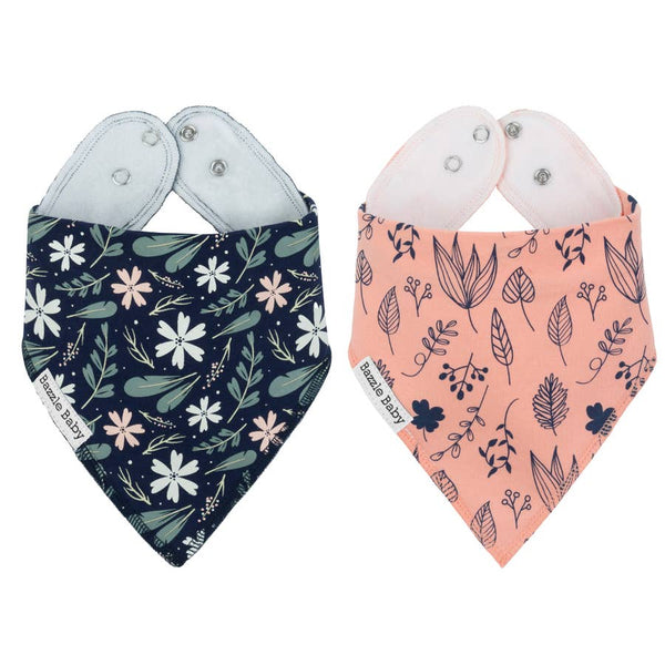 Baby Bibs | Floral Leaf 2-pack - Baby Bibs - Poshinate Kiddos Baby & Kids Store - dark on left