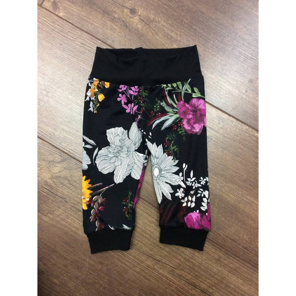 Baby Pants | Black/Multi Floral - Baby Pants - Poshinate Kiddos Baby & Kids Boutique - pants on floor