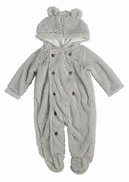 Baby Bunting | Bear | Grey Velour | Poshinate Kiddos Baby & Kids | Front view