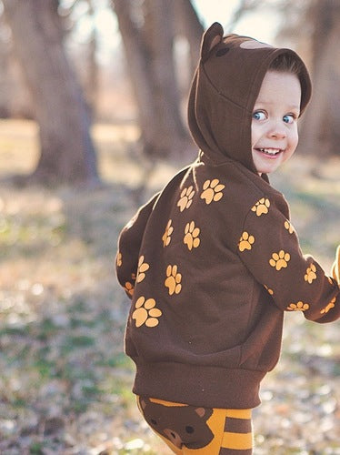 Kids Animal Hooded Sweatshirt | Bear | Brown Gold Black
