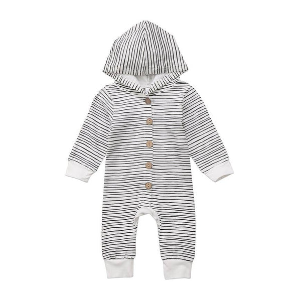 Baby Romper | Hooded - Black & White Stripe - Baby Rompers - Poshinate Kiddos Baby & Kids Boutique - hood with white cuffs
