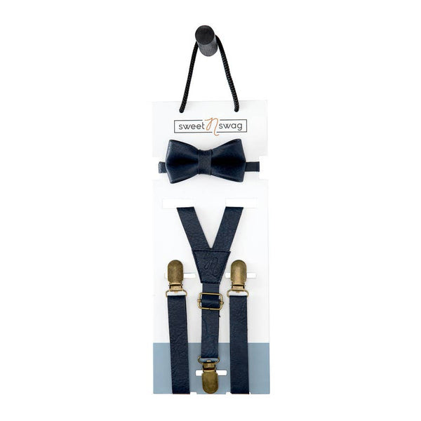 Boys Bow Tie & Suspenders Set | Marine Navy - Accessories - Poshinate Kiddos Baby & Kids Boutique - on card