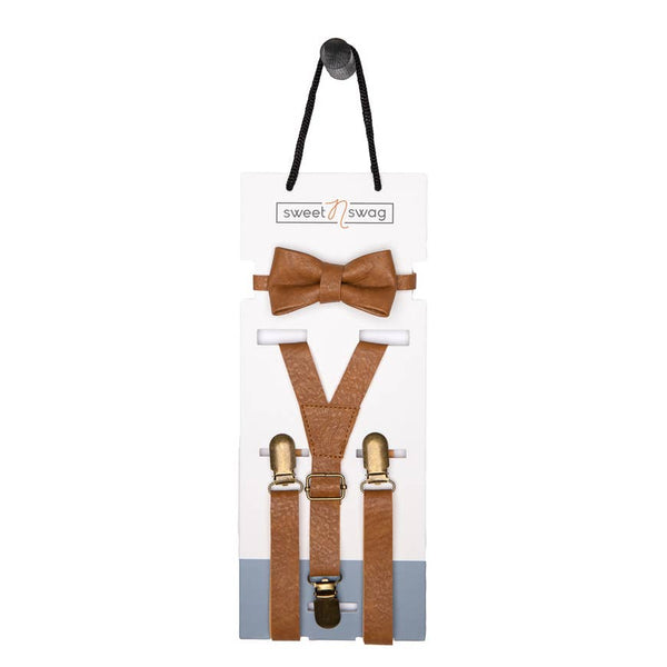 Boys Bow Tie & Suspenders Set | Meerkat Tan - Accessories - Poshinate Kiddos Baby & Kids Boutique - on card