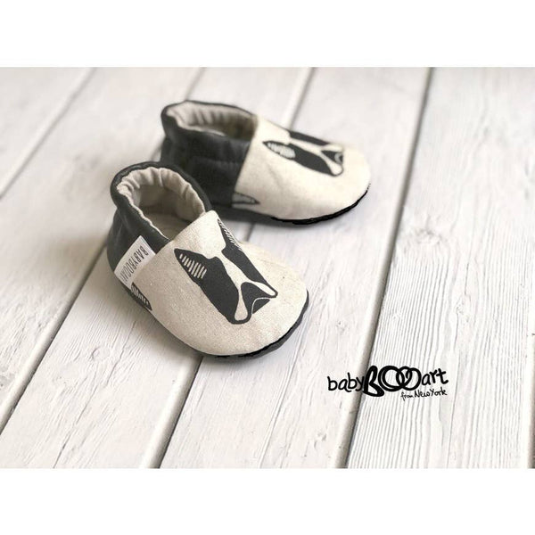 Baby Moccasins | Bulldog - Grey/Black - Baby Footwear - Poshinate Kiddos Baby & Kids Boutique - shoe pair on wood floor