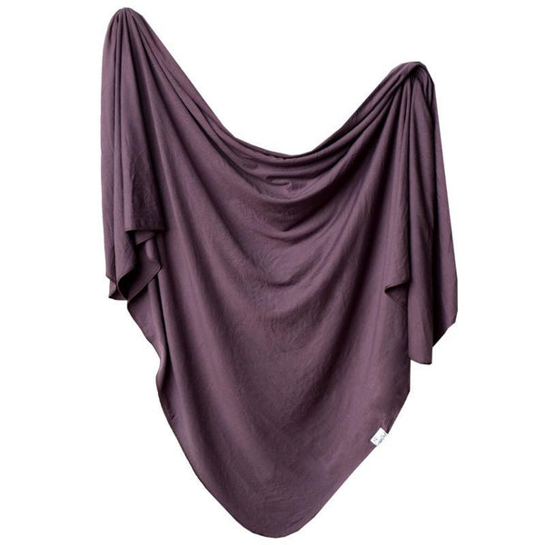 Baby Blanket | Knit Swaddle | Plum - Blankets - Poshinate Kiddos Baby & Kids Boutique - front of plum