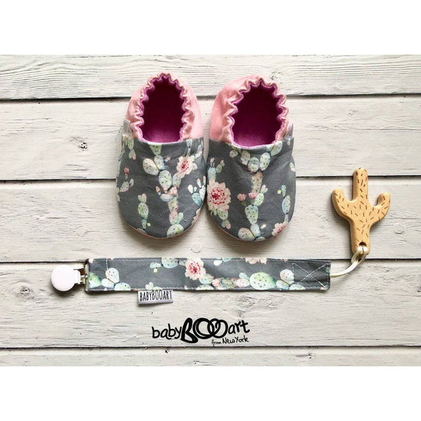 Baby Moccasins | Cactus - Grey/Pink - Baby Footwear - Poshinate Kiddos Baby & Kids Boutique - front view with paci clip