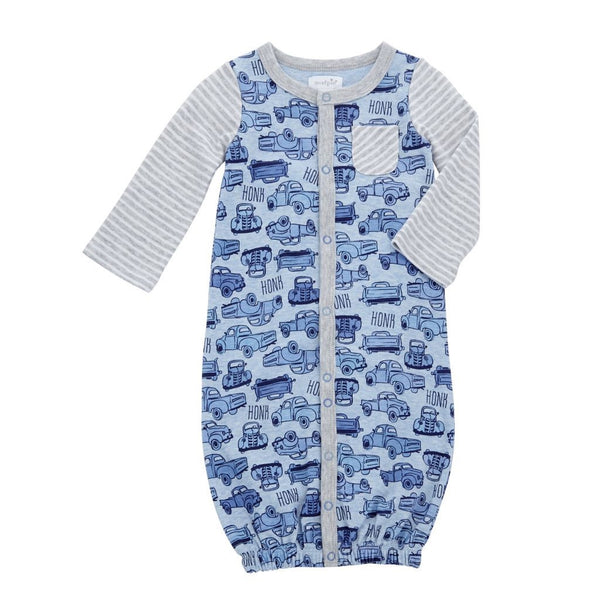 Baby Convertible Gown | Classic Truck | Blue Grey | Baby Sleepwear | Poshinate Kiddos Baby & Kids Store