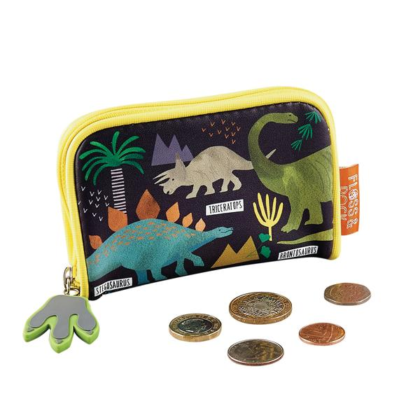 Kids Wallet | Dinosaur - Accessories - Poshinate Kiddos Baby & Kids Store - zipped with coins