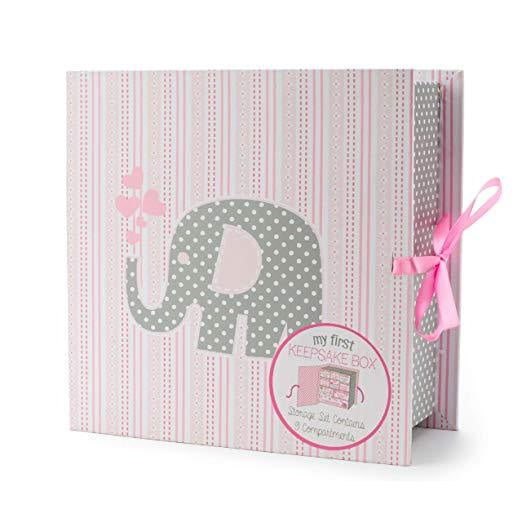 Baby Keepsake Box | Elephant - Baby & Kids Keepsakes Memory - Poshinate kiddos Baby & Kids Boutique - front of box