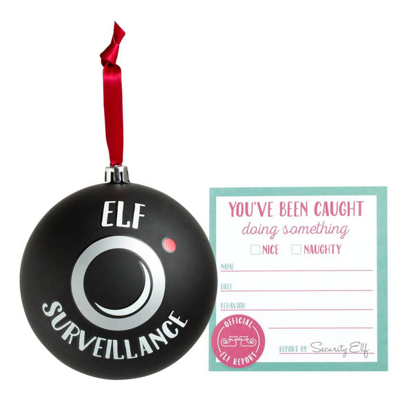 Santa's Elf Surveillance Holiday Ornament