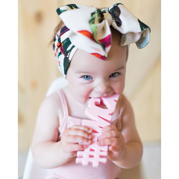 Baby Teether | #Fancy - Pink - Baby Teethers - Poshinate Kiddos Baby & Kids Store - Girl with big bow