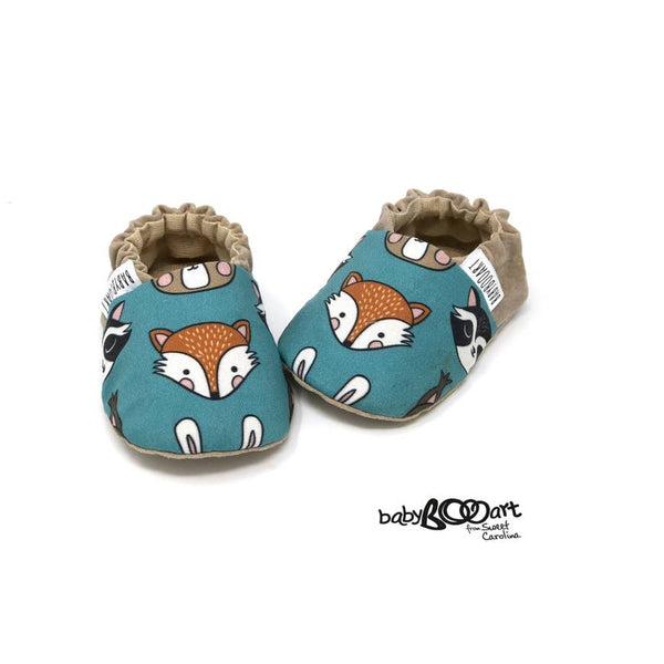Baby Moccasins | Fox - Teal/Brown - Baby Footwear - Poshinate Kiddos Baby & Kids Boutique - Fox pair front
