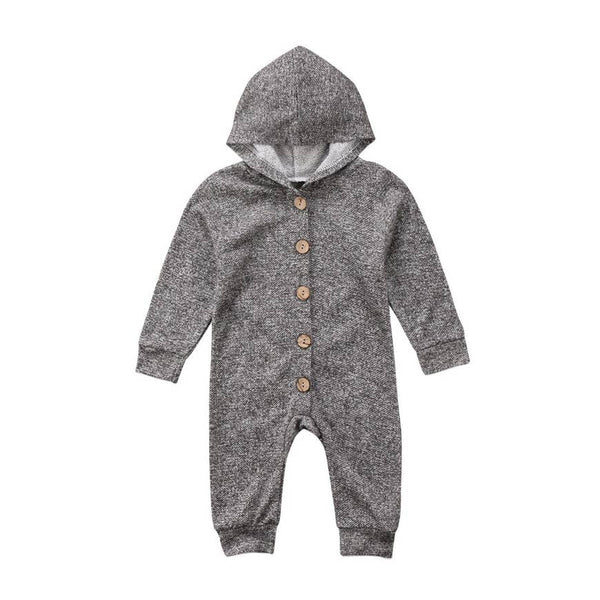 Baby Romper | Hooded - Charcoal Grey - Baby Rompers - Poshinate Kiddos Baby & Kids Boutique - Grey with hood