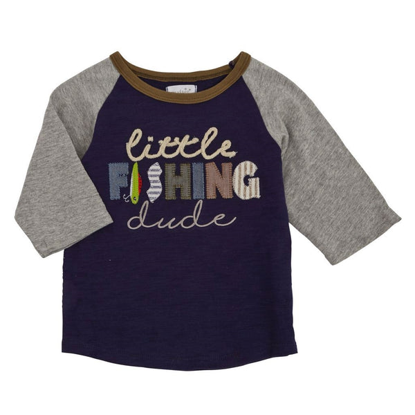 Boys T Shirt | Little Fishing Dude | Navy Grey Olive - Boys T Shirts - Poshinate Kiddos Baby & Kids Store