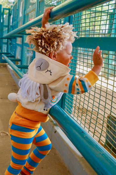 Kids Animal Hooded Sweatshirt | Llama | Cream Turquoise Orange