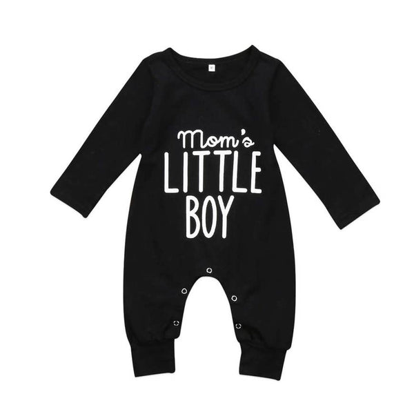 Baby Boy Romper | Moms Little Boy - Black - Baby Rompers - Poshinate Kiddos Baby & Kids Store - front of romper