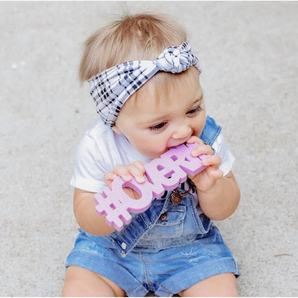 Baby Teether | #Overit - Lavender - Baby Teethers -  Poshinate Kiddos Baby & Kids Boutique - Baby with plaid headband