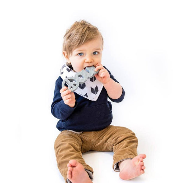 Baby Teether | #Peace Out - Grey - Baby Teethers -  Poshinate Kiddos Baby & Kids Boutique - Boy sitting