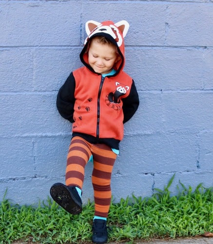 Kids Animal Hooded Sweatshirt | Red Panda | Orange Black White |  Poshinate Kiddos Baby & Kids Store | Front on child