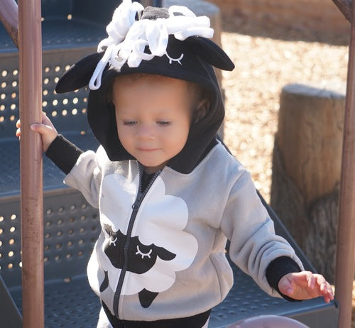 Kids Animal Hooded Sweatshirt | Sheep | Black White Grey