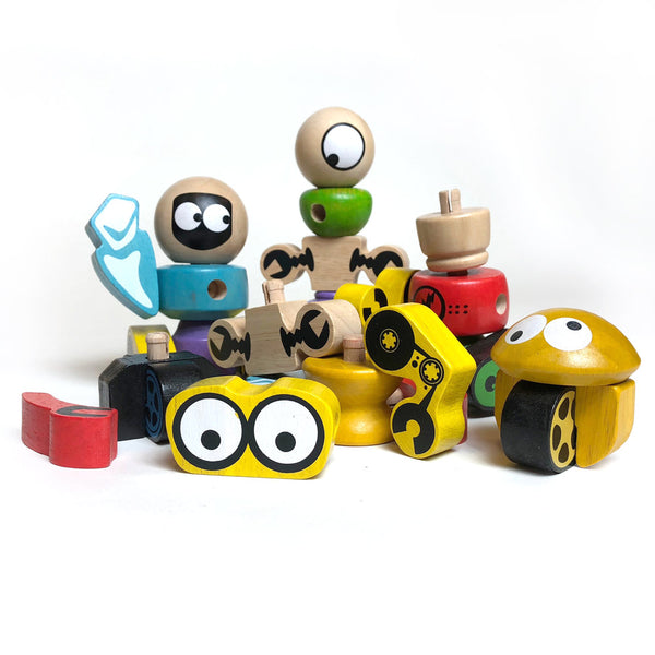 Wooden Robot Tinker Totter Set | 28 pc set