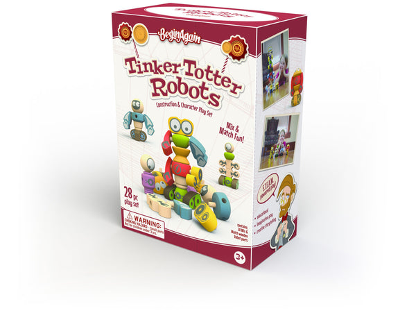 Wooden Robot Tinker Totter Set | 28 pc set - Puzzles Games & Toys - Poshinate Kiddos Baby & Kids Store - in box