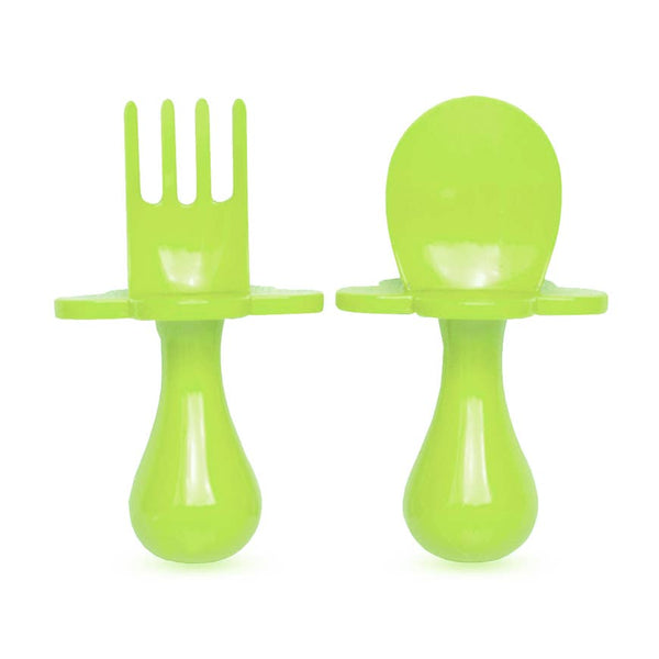 Baby Fork & Spoon Set | Green - Food Prep & Accessories - Poshinate Kiddos Baby & Kids Store - set out of box