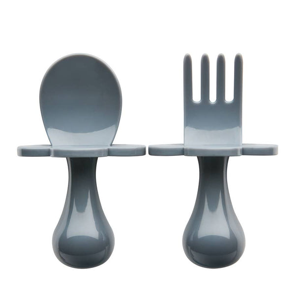 Baby Fork & Spoon Set | Grey - Food Prep & Accessories - Poshinate Kiddos Baby & Kids Boutique - out of box