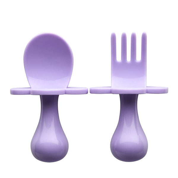 Baby Fork & Spoon Set | Lilac - Food Prep & Accessories - Poshinate Kiddos Baby & Kids Boutique - out of box