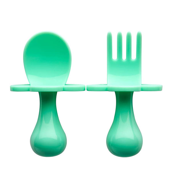 Baby Fork & Spoon Set | Mint - Food Prep & Accessories - Poshinate Kiddos Baby & Kids Boutique - out of box