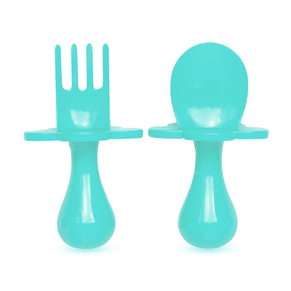 Baby Fork & Spoon Set | Teal - Food Prep & Accessories - Poshinate Kiddos Baby & Kids Store - set out of box