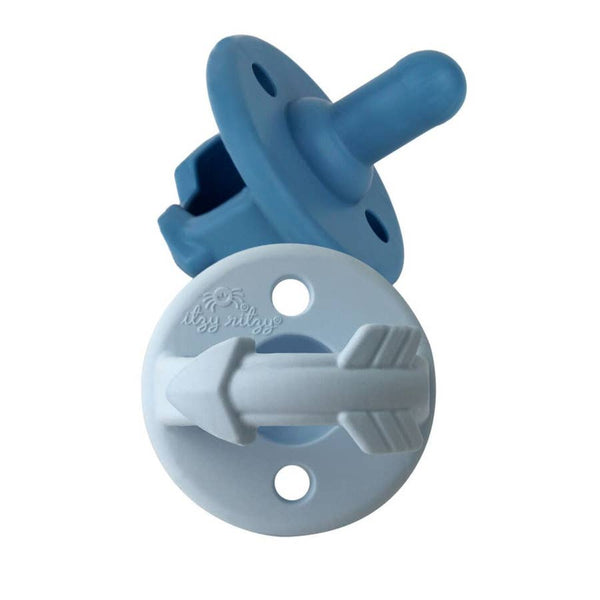 Baby Pacifiers | Blue Arrows | Set of 2 - Pacifiers - Poshinate Kiddos Baby & Kids Boutique - shows both