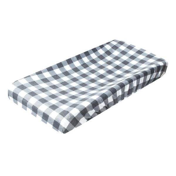 Baby Diaper Changing Pad Cover | Premium Knit | Buffalo Plaid Grey/White